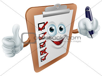 Clipboard mascot with pen