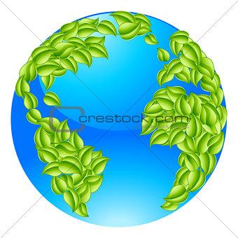 Green Leaves Globe Earth World Concept