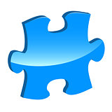 Blue puzzle 3d pie vector icon