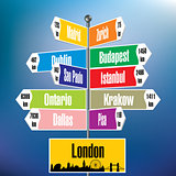 London signpost with cities and distances