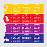 2015 calendar with flat numbers and long shadows