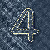 Number 4 made from jeans fabric