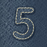 Number 5 made from jeans fabric
