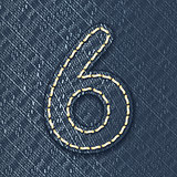 Number 6 made from jeans fabric