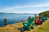 Colorful lounge chairs with a view of beautiful scenic panorama