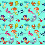 Funny sea animals with mermaids and background.