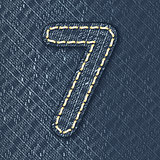Number 7 made from jeans fabric