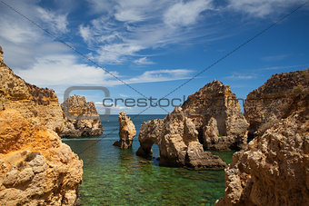 Famous cliffs of Ponta de Piedade, Lagos, Algarve, Portugal