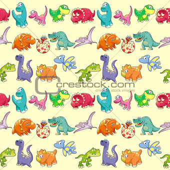 Group of funny dinosaurs with background.