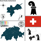 Map of Basel-Stadt, Switzerland
