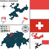 Map of Solothurn, Switzerland