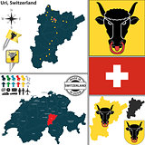 Map of Uri, Switzerland