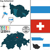 Map of Zug, Switzerland