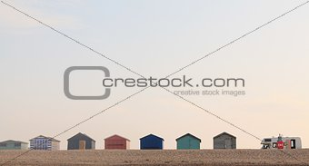 Beach Huts and a campervan