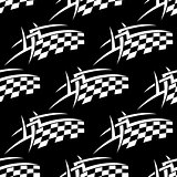 Seamless pattern of a black and white checkered flag