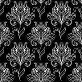 Monochrome paisley seamless floral pattern