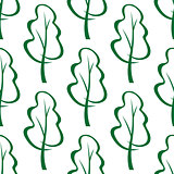 Stylized green trees sketch seamless pattern