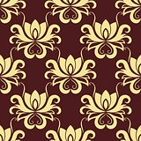 Beige and purple floral seamless pattern