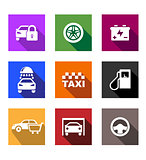 Automobile and service flat icons or web buttons