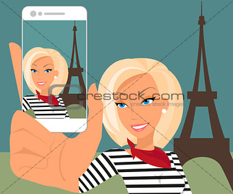 Vector illustration of blond woman is taking a self snapshot  in Paris