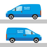 Blue delivery van isolated view from two sides on white
