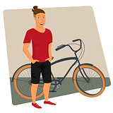 Hipster guy wearing dark shorts and red t-shirt with bicycle
