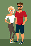 Hipster guy and his blond pretty girlfriend wearing glasses.