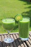 Two green smoothies