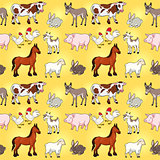 Funny farm animals with background