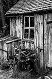 Black and white landscape of old blacksmiths workshop in Victori