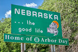 Nebraska welcome road sign