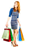 shopaholic girl with purchases from shop