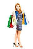 girl in a good mood and shopping