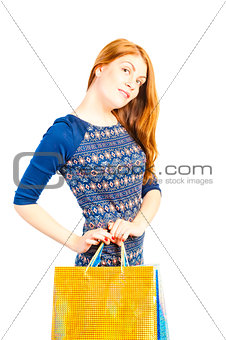 beautiful girl with shopping bags on white background