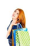 shopaholic dreams of purchases on a white background
