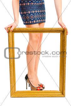 Beautiful shapely women's legs in the frame