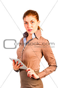 beautiful businesswoman in a shirt with the device