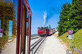 Steam locomotive of a vintage cogwheel railway going to Schafber