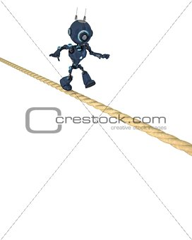 Android balancing on a tight rope