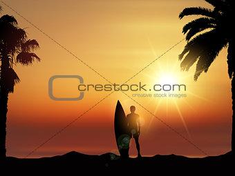 Surfer in tropical landscape