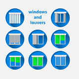 Flat icons for windows and louvers