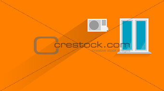 Flat illustration of orange wall