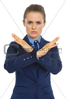 Business woman showing denied gesture