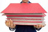 Closeup on business woman holding folders