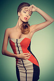 fashion female with vogue dress