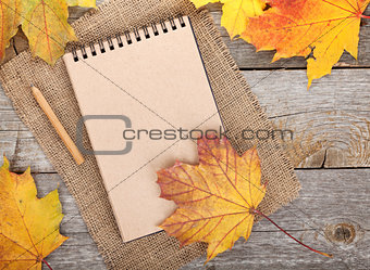 Blank notepad and colorful autumn maple leaves