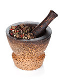 Mortar and pestle with peppercorn