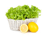 Lettuce in basket and lemons