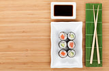 Sushi set, chopsticks and soy sauce