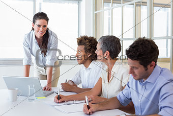 Casual workers at important meeting